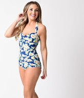 Esther Williams 1950s Style Pin Up Blue & Dapper Daisy Swimsuit