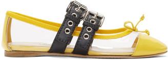Miu Miu Transparent and Yellow Double Bands Ballerina Flats