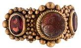 Stephen Dweck Carved Quartz & Garnet Three-Stone Ring