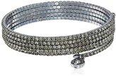Anne Klein Hematite-Tone Black Diamond Multi-Row Flex Bracelet