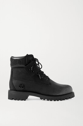 Jimmy Choo + Timberland Embroidered Leather-trimmed Glittered Nubuck Ankle Boots