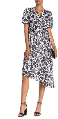 Maggy London Floral Stripe Faux Wrap High/Low Dress