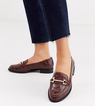 Asos Design DESIGN Wide Fit Vapor snaffle loafer in chocolate croc-Brown