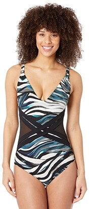 Amoressa By Miraclesuit Yukon Tigress One-Piece (Blue/Green) Women's Swimsuits One Piece