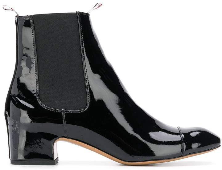 ace8f0f13e7 Block Heel Patent Leather Chelsea Boot