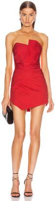 Mason by Michelle Mason Pleated Bustier Mini Dress in Poppy   FWRD