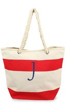 Cathy's Concepts Monogram Stripe Canvas Tote - Red