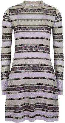 M Missoni Striped Metallic-knit Mini Dress