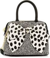 Betsey Johnson Ready Set Bow Dot-Print Satchel Bag, Black/White