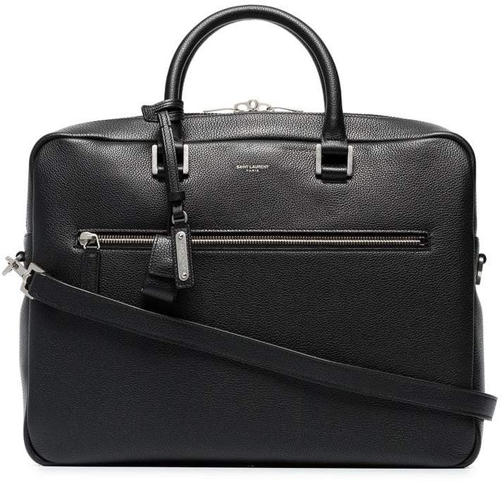 Saint Laurent black logo print briefcase