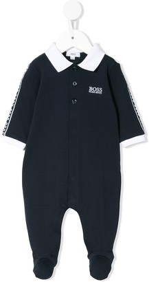 Boss Kids Logo Embroidered Polo-Style Babygrow