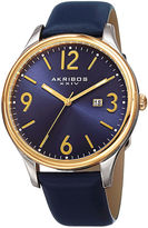 Akribos XXIV Mens Blue Leather Strap Watch