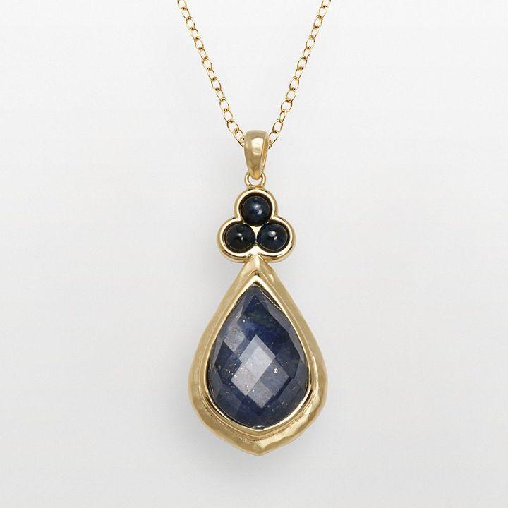 Lapis 18k Gold-Over-Silver Lazuli Doublet & Sapphire Teardrop Pendant