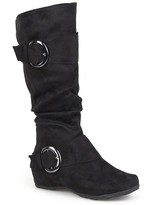 Journee Collection Women's Slouch Buckle Knee-High Microsuede Boots