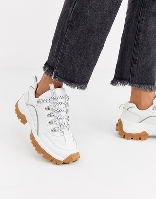 Stradivarius gum sole chunky trainers in white