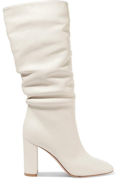 Gianvito Rossi Laura 85 Leather Knee Boots - White