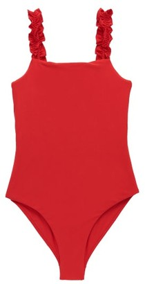 Casa Raki - Isabel Ruffled-strap Swimsuit - Red