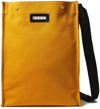 Marni Voile Leather-trimmed Canvas Shoulder Bag