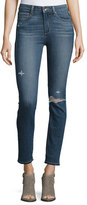 Paige Hoxton Ankle Peg Jeans with Folded Undone Hem, Lexi Destructed
