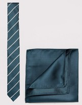 New Look New Look Stripe Tie And Pocket Square In Green