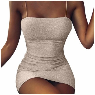 Gofodn Dresses for Women UK Plus Size Evening Party Night Club Solid Sexy Sequins Pack Hip Sleeveless Tube Top Mini Sling Dress Silver