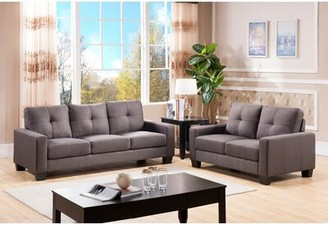 """Wildon Home 56"""" Square Arm Loveseat Fabric: Charcoal Grey"""