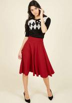 ModCloth Bugle Joy Midi Skirt in Scarlet in L