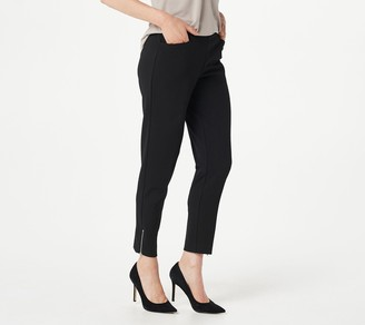Dennis Basso Luxe Crepe Pull-On Ankle Pants with Zipper
