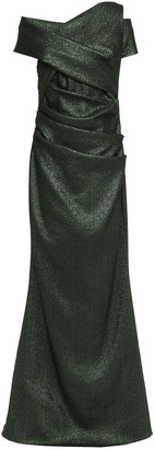 Talbot Runhof Draped Cutout Metallic Knitted Gown