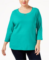 Karen Scott Plus Size Marilyn Buckle-Trim Top, Only at Macy's