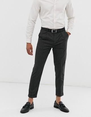 Topman skinny smart trousers in grey pin stripe