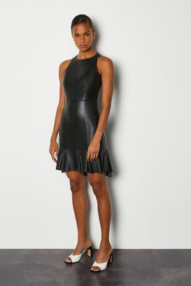 Karen Millen Leather Dipped Panel Hem Dress