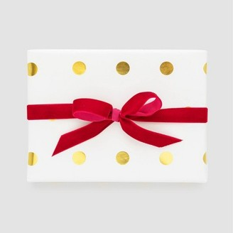 White with Gold Large Dots Gift Wrap, Single Roll - Sugar PaperTM