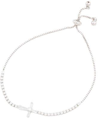 Sterling Silver Cz Cross Friendship Bracelet