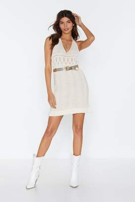 Nasty Gal Womens Oke Crochet Halter Mini Dress - white - 14