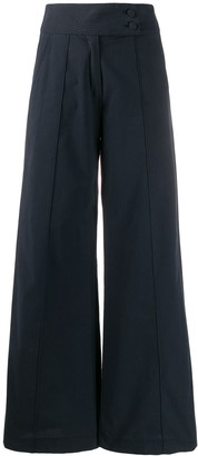 Societe Anonyme Flared Leg Striped Trousers