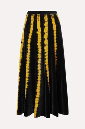 Proenza Schouler Tie-dyed Stretch-velvet Midi Skirt - Black