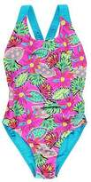 Zoggs Kids Girls Cuban Flyback Swimsuit Junior Crew Neck Lightweight Swimwear