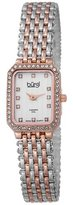 Burgi Women's BUR098TTR Crystal Accented Rose Gold and Silver Swiss Quartz Watch with Silver Dial and Silver and Rose Gold Bracelet