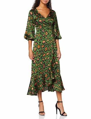 Liquorish Women's Animal Wrap Midaxi Dress with Ballony 3/4 Length Sleeves
