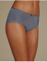 M&S Collection 2 Pack Cotton Rich Lace Trim Midi Knickers