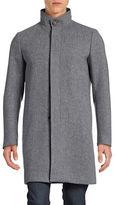 Theory Stand-Collar Herringbone Wool-Blend Overcoat