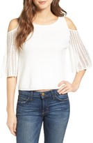 Ella Moss Women's Avalyn Pointelle Sleeve Cold Shoulder Sweater