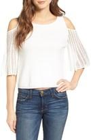 Ella Moss Women's Avalyn Pointelle Sleeve Cold Shoulder Sweater