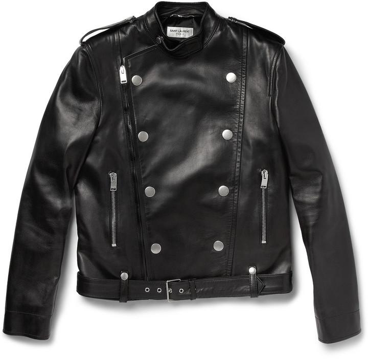 Saint Laurent Slim-Fit Leather Biker Jacket