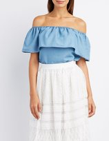 Charlotte Russe Chambray Ruffle Off-The-Shoulder Top