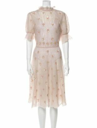 Valentino Polka Dot Print Midi Length Dress Pink