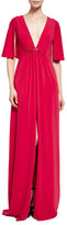 Halston Cape-Sleeve V-Neck Stretch Crepe Gown, Carmine