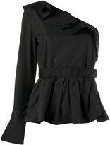 Fendi ruffle-trimmed one sleeve top - women - Cotton - 40