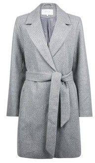 Dorothy Perkins Womens **Vila Grey Belted Coat, Grey